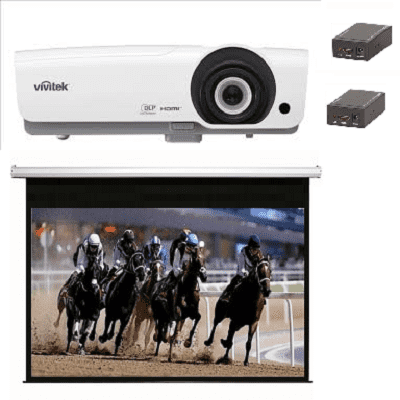 Small, Hall, system, -, Vivitek, HD, 4800, lumen, projector, and, 3.6m, wide, SG, Audio, Visual, Electric, Screen, mount, and, converters,