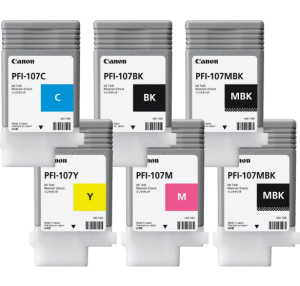 Ink Cartridges/Canon: CANON, 6, x, 130ML, PFI-107, INK, BUNDLE, FOR, IPF670, iPF770,