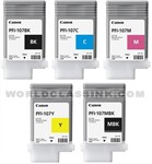Ink Cartridges/Canon: CANON, 5, x, 130ML, PFI-107, INK, BUNDLE, FOR, IPF670, iPF770,
