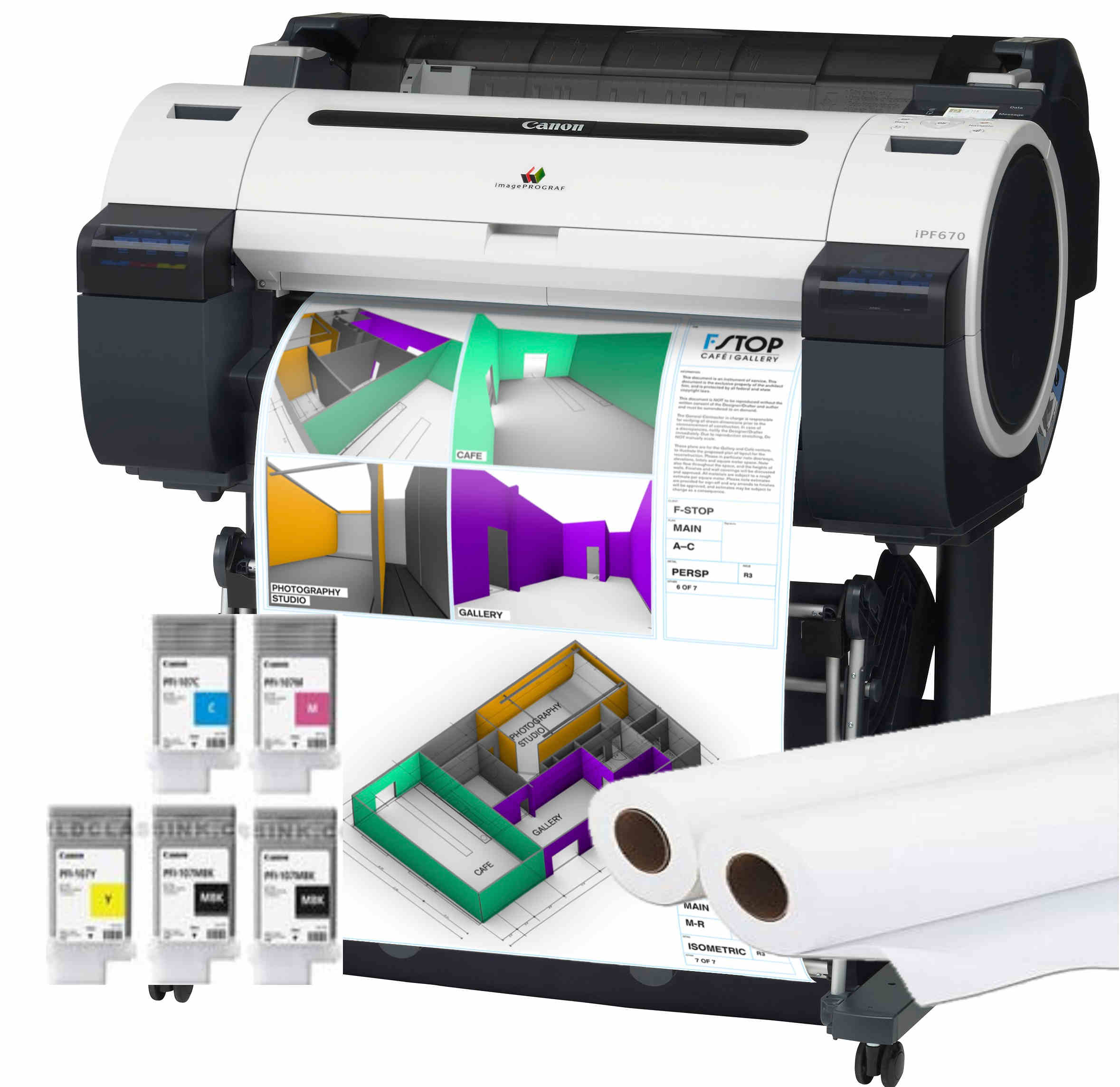 Large Format - A1/Canon: Canon, IPF680, A1, 24, 5, Colour, Technical, Printer, with, Stand, +, BONUS,