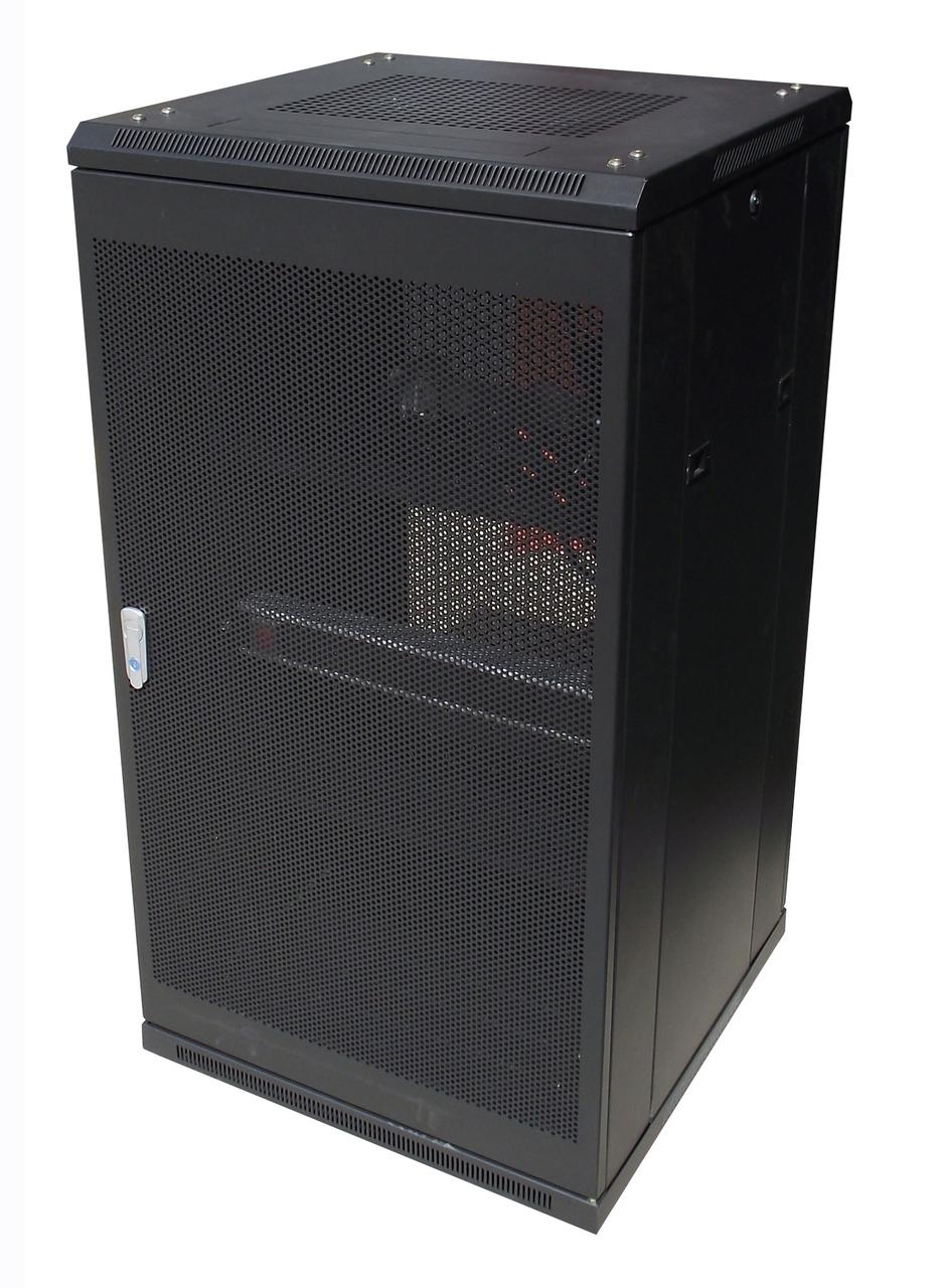 LinkBasic, 22RU, 600mm, Depth, Server, Rack, Smoke, Glass, Door, with, 2x240v, Fans, and, 8-Port, 10A, PDU,