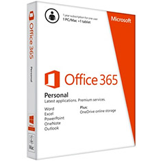 Microsoft, Office, 365, 2013, Version, Personal, 32-bit/x64, English, Subscription, 1, License, APAC, DM, Medialess, 1Year,