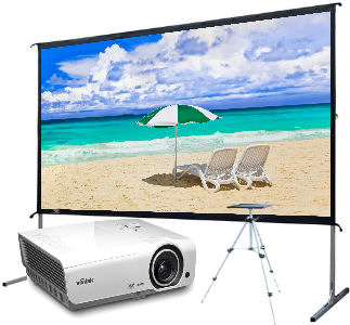Ultra Portable/Vivitek: Backyard, Screen, Deal, Elite, 120, Yardmaster2, plus, Vivitek, DH976WT, Projector, and, stand,