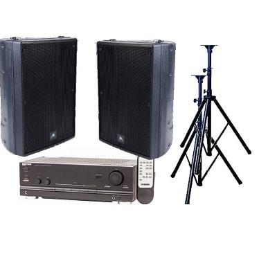 Audio, bundle, -, 200W, Stereo, Speaker, System, -, Outdoor, Black,