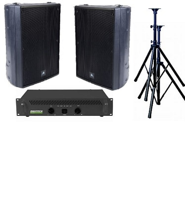 Audio, bundle, -, 400W, Stereo, Speaker, System, -, Outdoor, Black,