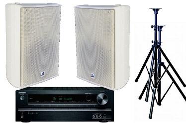Audio, bundle, -, 160W, Speaker, System, with, Receiver-, Indoor, White,