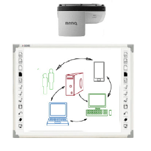 Qomo, 88, 6-Point, Finger, Touch, Interactive, Whiteboard, with, Benq, 3500, lumen, High, Def, Projector,