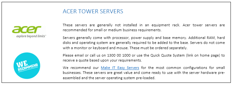 Acer Tower Servers