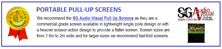 There are two main types of pull-up screens being the single-pole design and the scissor-action design. The single pole design (e.g. X series) are lightweight and cost-effective and less likely to be damaged than a tripod. The scissor-action design use a spring or gas-lift to push up the corners of the screen providing a flatter screen. These are generally more expensive, more rugged, heavier and suitable for frequent use. Some models (e.g. 600 series) incorporate handles and wheels. Consider the SG Audio Visual Pull Up Screens as they are commercial grade screens. This brand covers both screen types and most sizes and formats with local support, stock and warranty.  Many screens have bonuses included such as free screen bags or projector stands.  Look for the bonus icon!