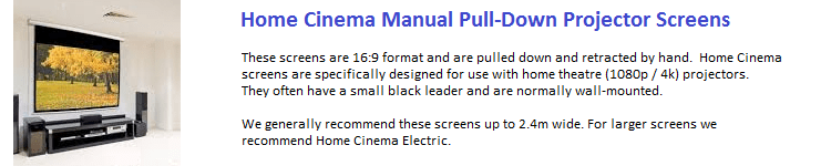 These 16:10 format manual pull-down wall-mount screens are designed for use with modern wide format (WXGA and WUXGA) projectors. Most have a black leader at the top of the screen. These are recommended for education and small to medium sized meeting rooms. For screens wider than 2.4m we recommend Business and Education Electric Projector Screens