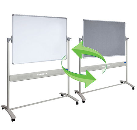 Visionchart, Mobile, Revolving, 1500, x, 1200mm, Magnetic, whiteboard, &, Grey, Felt,