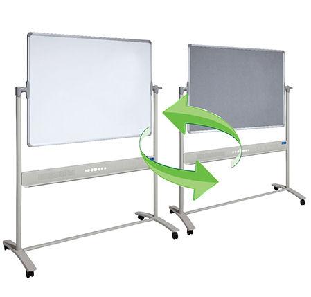 Visionchart, Mobile, Revolving, 1500, x, 1200mm, Magnetic, whiteboard, &, Grey, Felt,