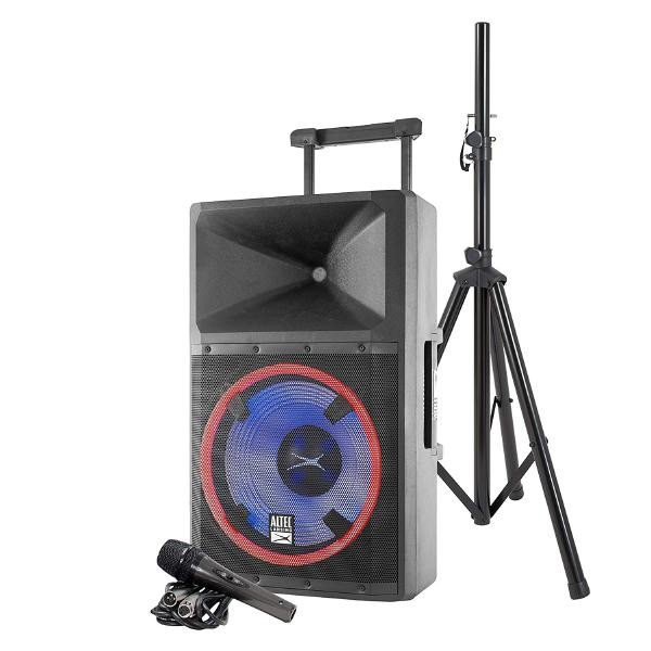 Altec, Lansing, LIGHTNING, High-power, PA, speaker, system, (Bluetooth, USB, SD, Speaker, stand, Retractable, handle, &, Wheels,