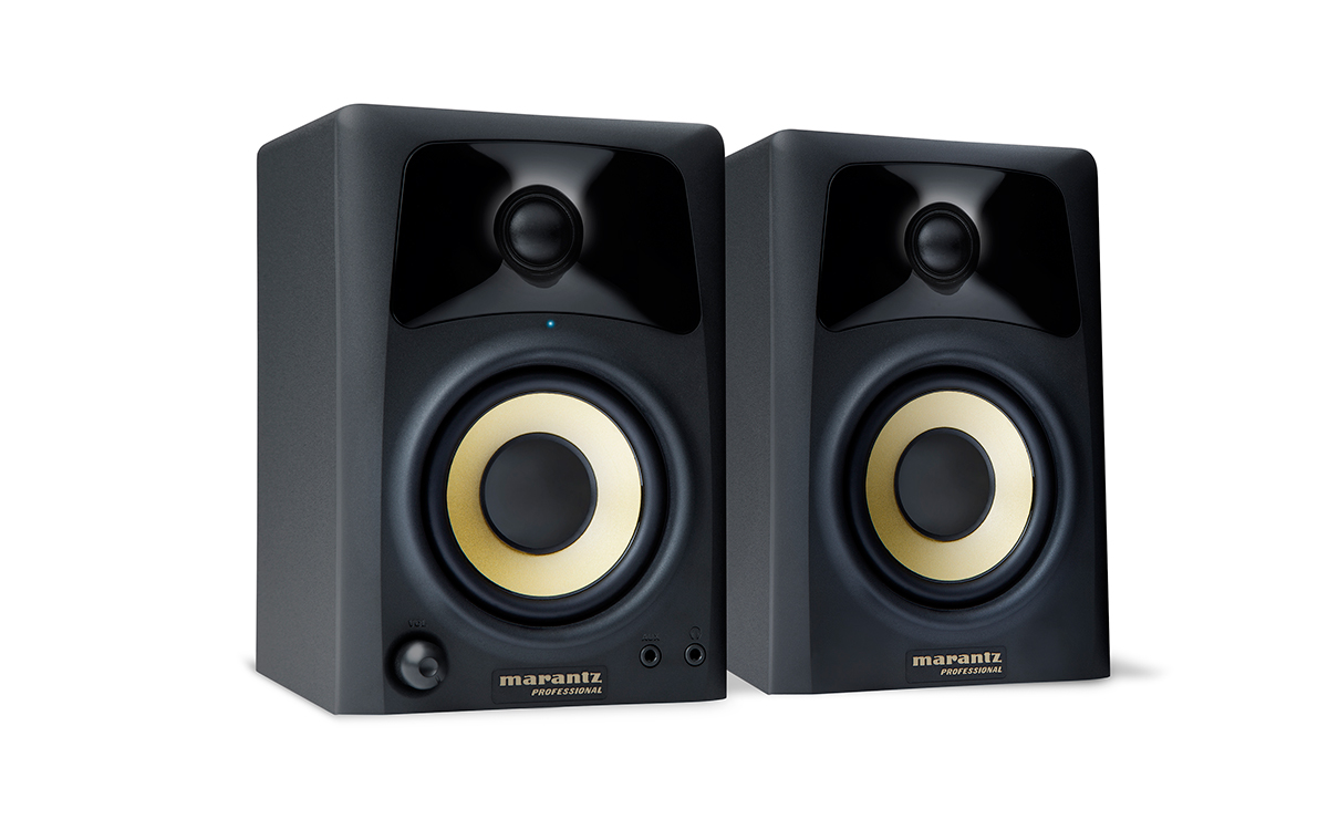 Marantz, Pro, 2-way, 4, Compact, Bi-Amplified, media, monitor., 20-watt-per-channel, Class,