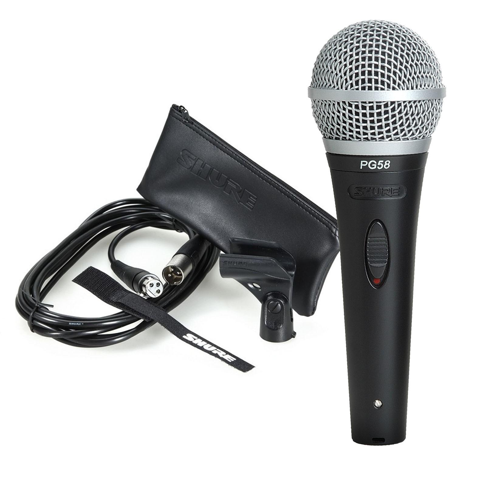 Shure, PG58XLR, Cardioid, Dynamic, Vocal, Microphone, &, XLR, Mic,