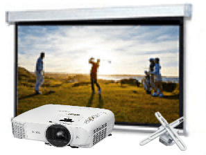 Home, Theatre, Starter, Bundle:, Epson, HD, Projector, plus, 2.4m, wide, Electric, Screen, and, Mount,
