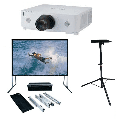 Outdoor Cinema/Hitachi: Hitachi, 7000, lumen, HD, projector, and, 5m, fastfold, screen, and, high, projector, stand,