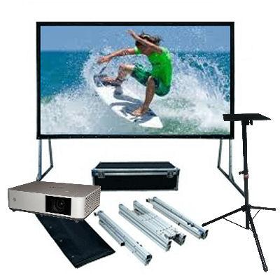 Sony, 5000, Lumen, Laser, Projector, plus, 3m, (135, ), Portable, Fast-Fold, Projector, Screen,