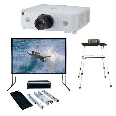 Large, Venue, Bundle, -, 6M, wide, Fastfold, (2, surfaces), Screen, plus, Bright, High, Def, Projector, with, Stand,