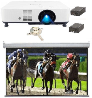 Large, Hall, system, -, Sony, 6000, lumen, Laser, projector, 4m, wide, Electric, Screen, mount, and, converters,