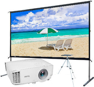 Ultra Portable/Elite Screens: Summer, Screen, Deal, Elite, 120, Yardmaster2, plus, BenQ, MH733, Projector, and, stand,