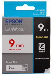 Epson, Tape, Standard, 9mm, Red, on, White, 9, metres,