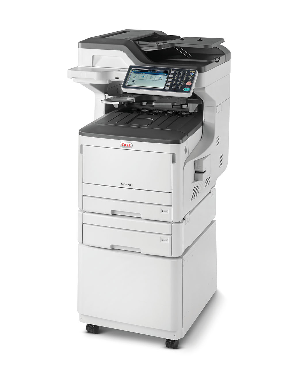 OKI, MC873dnct, MFP, A3, Colour, Laser, Printer, with, 1, tray, and, cabinet,