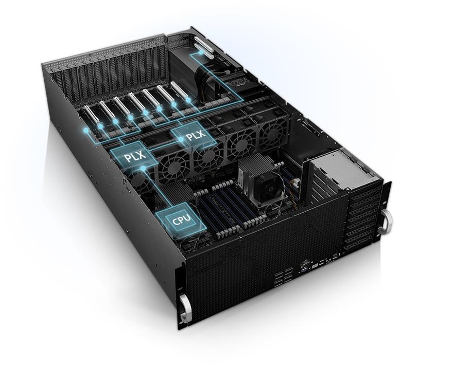 Asus, 4RU, Barebones, Server, ESC8000, G4, 8, x, GPU, Compatible, Dual, Xeon, Socket, 24, x, DIMM, 6, x, 2.5, HDD, Bays, iKVM, 1600w,