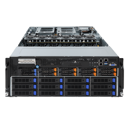 G481-HA0, Rack, Server, supporting, 10, Tesla, V100, with, dual, Intel, 18, core, 64gb, 12, *, 3.5, bays, 3, *, 2200W, power, supplies,