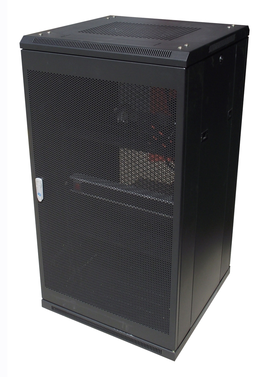 Serverguys, 22RU, 800mm, Depth, Server, Rack, Glass, Door, with, 4, x, 240v, Fans, and, 8-Port, 10A, PDU,