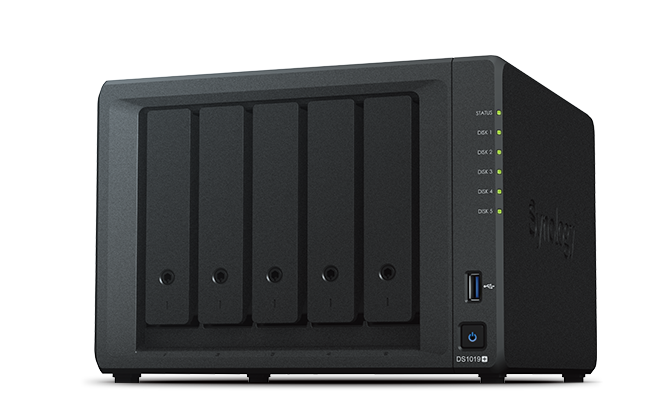 "Synology, DiskStation, DS1019+, 5-Bay, 3.5"", Diskless, 2xGbE, Network, Attached, Storage, (Tower), Intel, Atom, Quad, Core, 1.4GHz,"