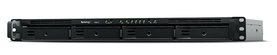"Synology, RackStation, RS819, 4-Bay, 3.5"", Diskless, 2xGbE, Network, Attached, Storage, (1U, Rack), (HMB), Realtek, RTD1296, quad,"