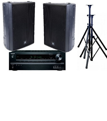 Audio, bundle, -, 160W, Speaker, System, with, Receiver-, Outdoor, Black,