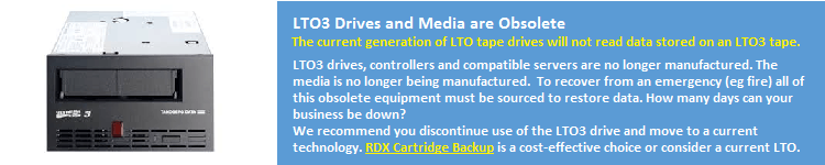LTO3 Media Obsolete