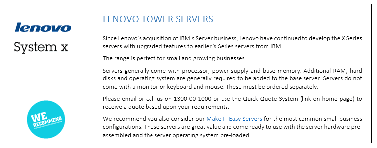 Lenovo Tower Servers