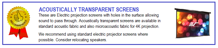 Electric acoustically transparent projection screens are often used where there are speakers located behind the screen The normal format of these screens is 16:9 to match home cinema projectors.