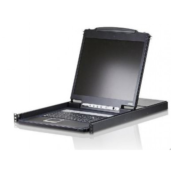 Aten, (CL1308N-ATA-AU), SINGLE, RAIL, 8P, PS/2-USB, LCDKVM, 19INCH, W/USA, KB/AU, ATEN,