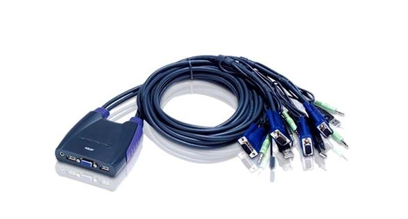 Aten, (CS64US-AT), 4, PORT, USB, KVM, SWITCH., Support, Audio, 0.9M, Cable,