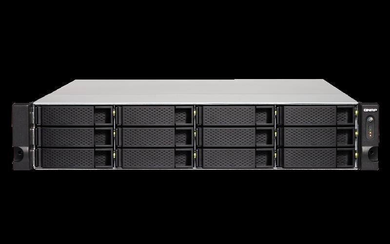 QNAP, TS-1232XU-RP-4G, 12-Bay, quad-core, 1.7, GHz, rackmount, NAS, with, 250W, redundant, PSU, 4GB, DDR4, UDIMM, RAM, (max, 16GB), SATA,