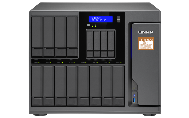 QNAP, TS-1635AX-4G, 16-Bay, NAS, Marvell, ARMADA, 8040, ARMv8, Cortex-A72, quad-core, 1.6GHz, 4GB, DDR4, Long-DIMM, RAM, (max, 16GB),