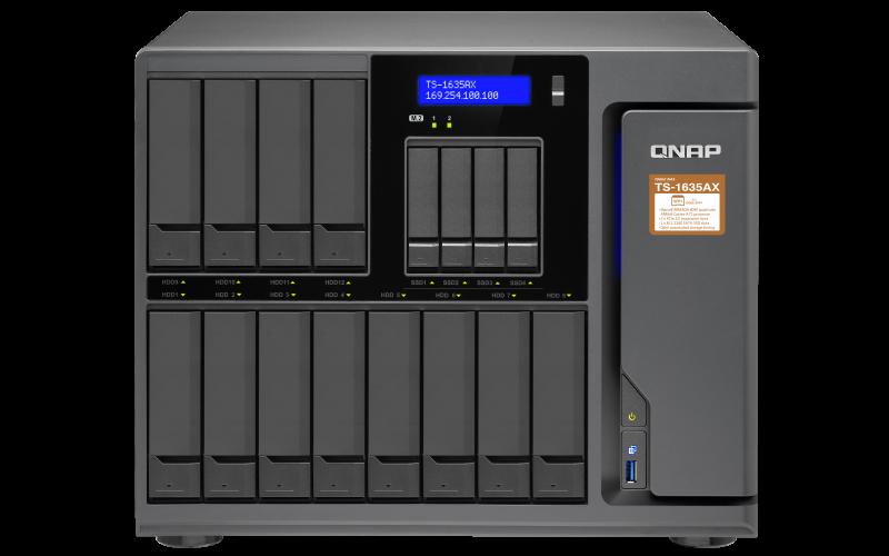 QNAP, TS-1635AX-8G, 16-Bay, NAS, Marvell, ARMADA, 8040, ARMv8, Cortex-A72, quad-core, 1.6GHz, 8GB, DDR4, Long-DIMM, RAM, (max, 16GB),