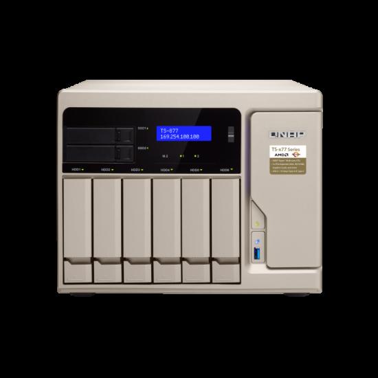 QNAP, TS-877-1700-16G, 8-Bay, NAS, AMD, Ryzen, 7, 1700, 8-core, 3.0GHz, (max, 3.7GHz), 16GB, DDR4, RAM, (max, 64GB, RAM), 2y, wty,