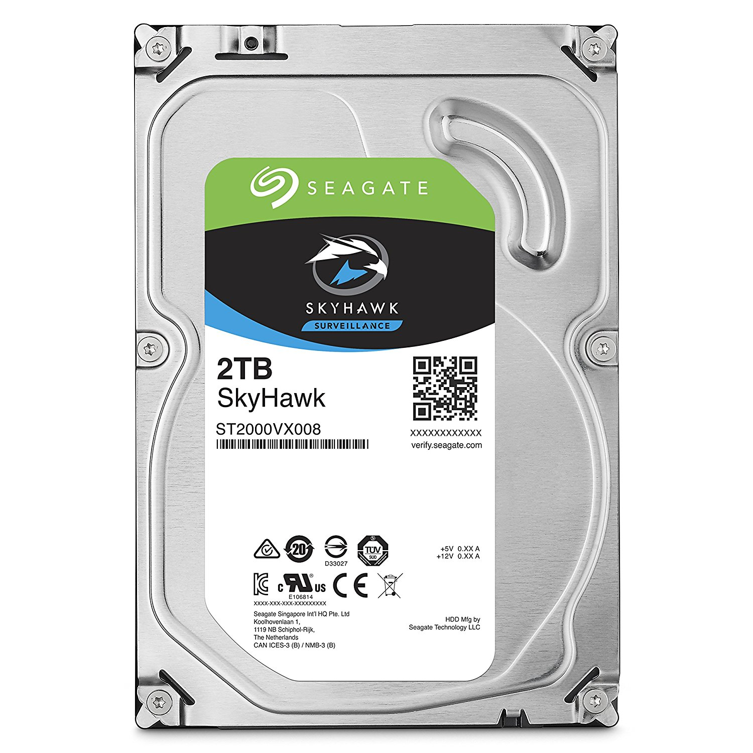 SEAGATE, SKYHAWK, 2TB, SURVEILLANCE, 3.5IN, 6Gb/S, SATA, 64MB, 5900RPM,