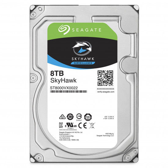 SEAGATE, SKYHAWK, 8TB, SURVEILLANCE, 3.5IN, 6Gb/S, SATA, 64MB, 7200RPM,