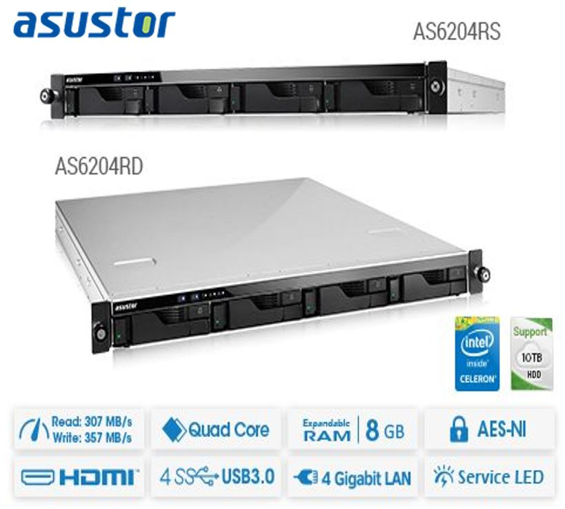 Asustor, 1U, 4-Bay, NAS, Rackmount, Celeron, Quad, Core, 4GB, SO-DIMM, DDR3L, AES-NI, hardware, encryption, with, lockable,