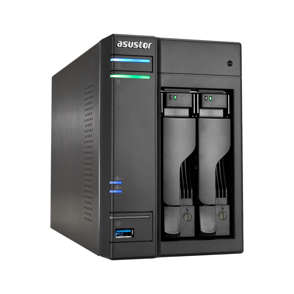 Asustor, 2-Bay, NAS, Intel, Celeron, Quad-Core, 4, GB, SO-DIMM, DDR3L, GbE, x, 2, USB, 3.0, &, eSATA, WoL, System, Sleep, Mode, AES-NI,