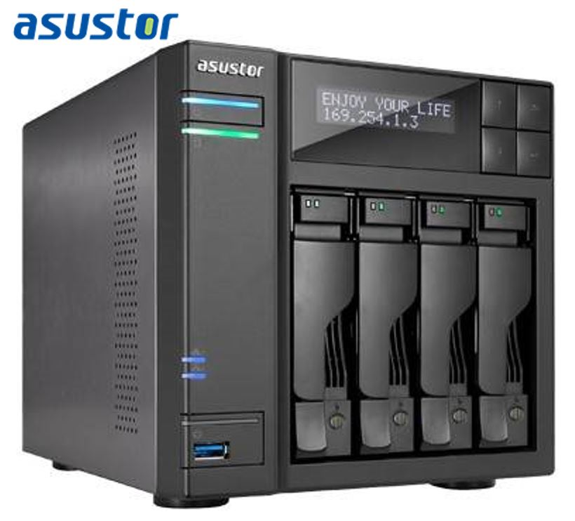 Asustor, 4-Bay, NAS, Intel, Core, i3, 3.5, GHz, Dual-Core, 2GB, DDR3, GbE, x, 2, HDMI, SPDIF, USB, 3.0, &, SATA, LCD, Panel, WoL, Syst,