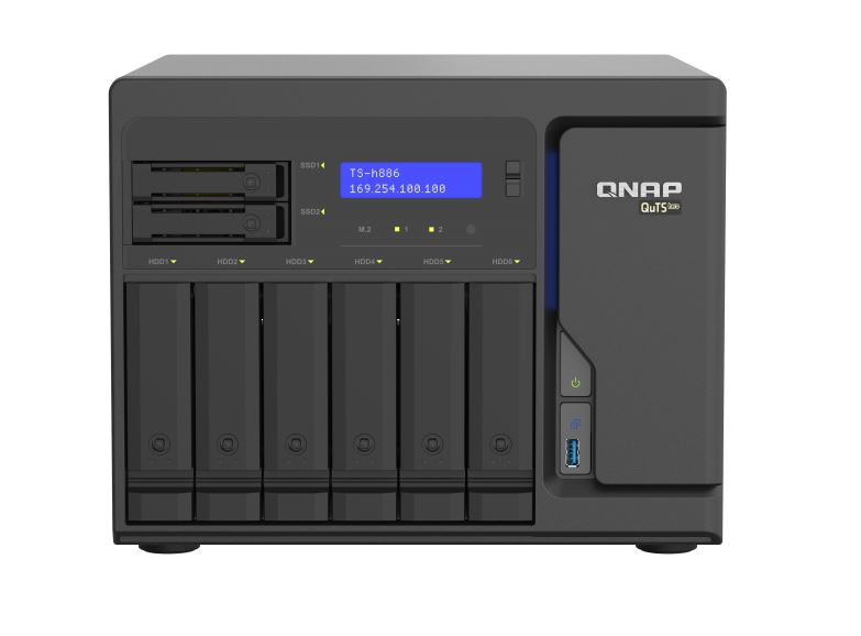 QNAP, TS-h886-D1622-16G, 8Bay, Tower, NAS, Intel, Xeon, D-1622, 4cores/8threads, 2.6, GHz, processor(Turbo, Boost, up, to, 3.2GHz), 16G,