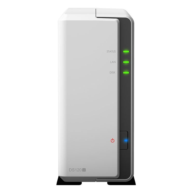 Synology, DiskStation, DS120j, 1-Bay, 3.5, Diskless, 1xGbE, NAS, (Tower), (SOHO), Marvell, 800MHz, 2xUSB2, -, 2, Years, Warranty, -, Co,