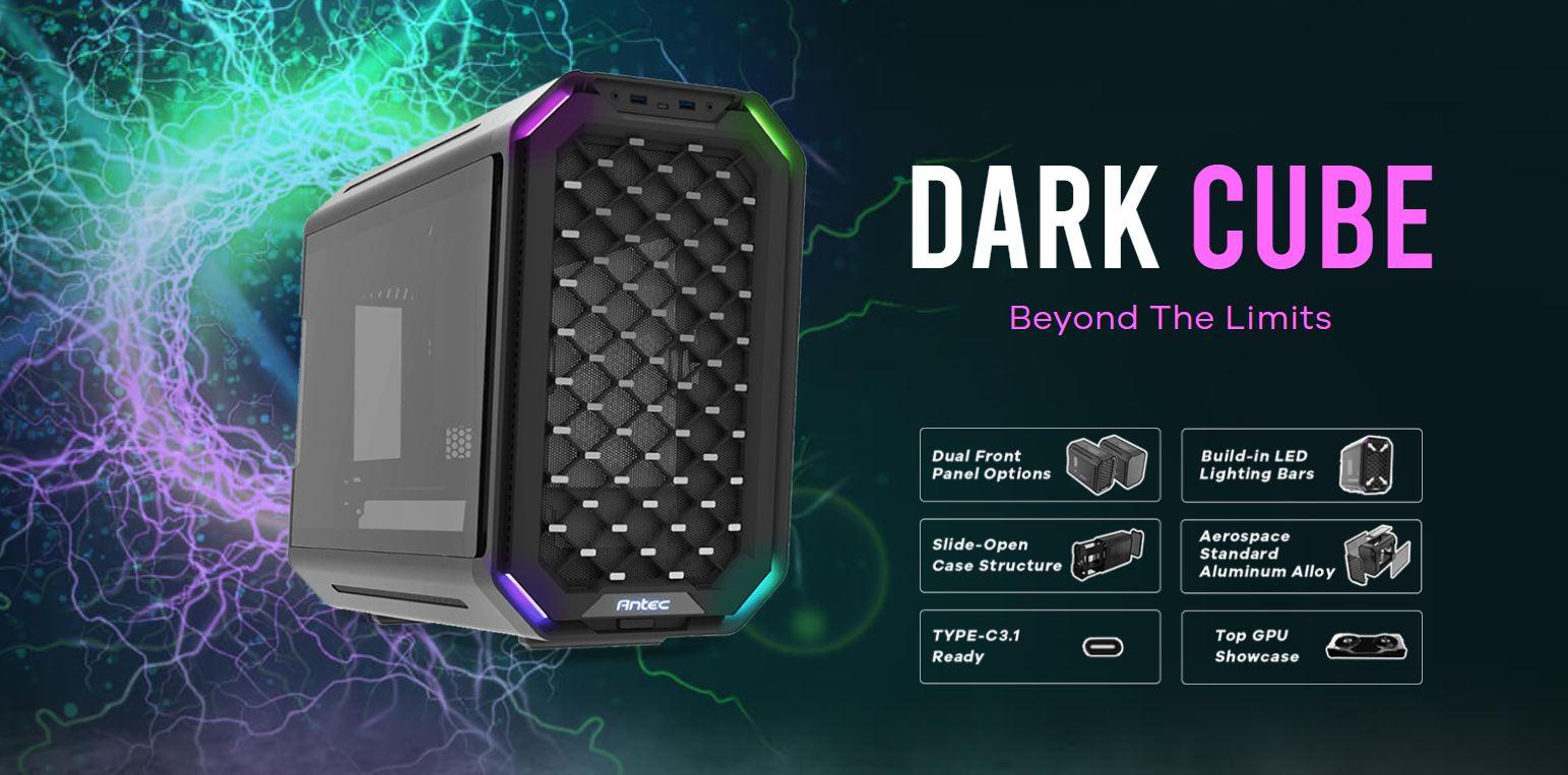 Antec, Dark, Cube, M-ATX, Dual, Front, Panel, Slide, Open, Structure, USB, Type-C, 3.1, LED, Light, Bars, Aluminum, Alloy, structure,